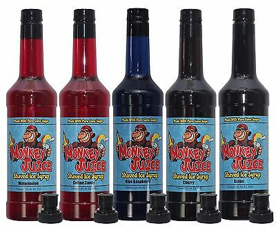5 Bottles Of Shaved Ice Syrup - Made With Pure Cane Sugar