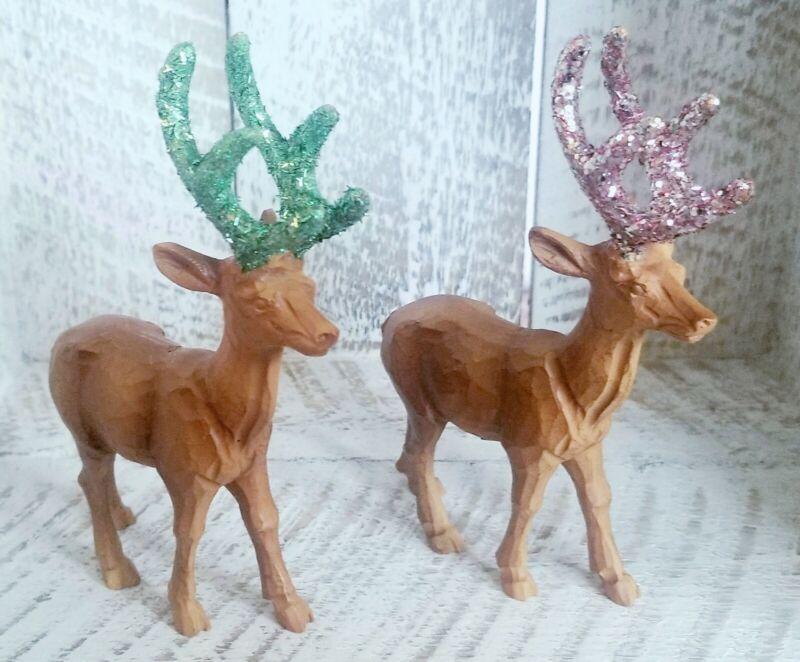 2 CHRISTMAS REINDEER, DEER, STAG ORNAMENTS  W/ GLITTERED ANTLERS