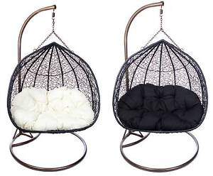 Double Hanging Egg Pod Chair Rattan Wicker Outdoor Furniture Nerang Gold Coast West Preview