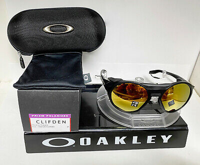 New Oakley CLIFDEN OO9440-0756 MATTE BLACK/PRIZM 24K POLARIZED