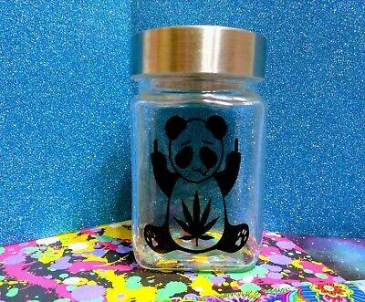 Novelties Items (Glass Weed Stash Jar (Themed Novelty item) F@ck you panda & stoned to the Bone)