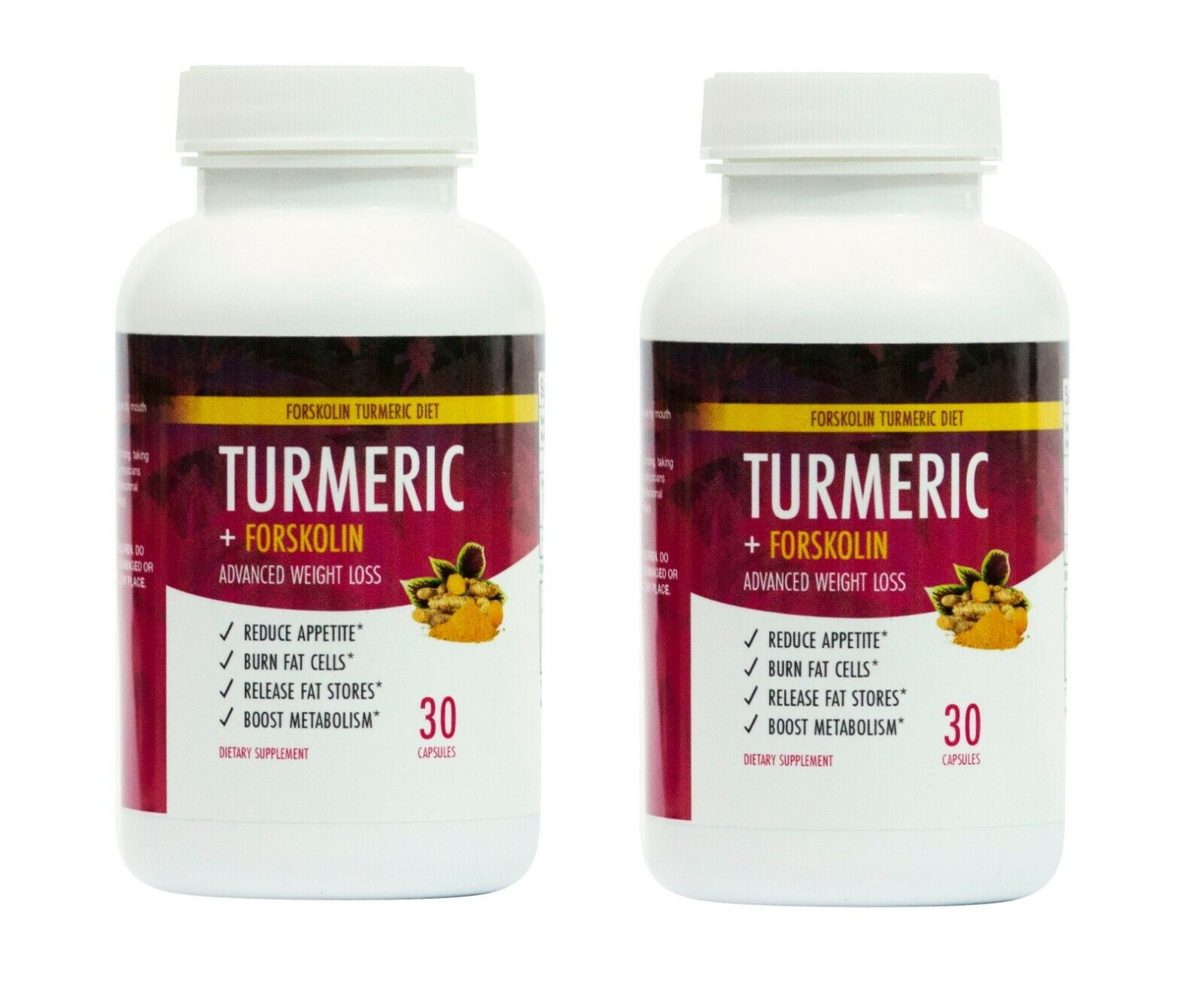 2 Bottles Turmeric and Forskolin Diet Advanced Weight Loss Formula Fat Burn