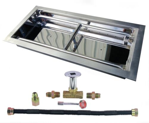 """18"""" 24"""" 30"""" 36"""" Stainless Steel Rectangular Drop-In Fire Pit Burner NG or LP Kit"""