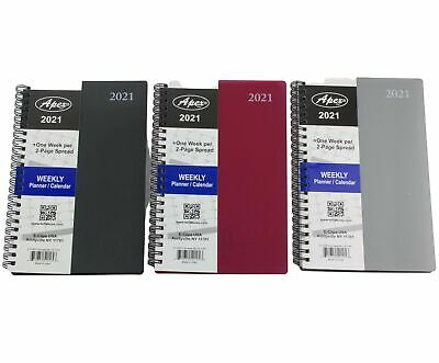 2021 Weekly Planner Spiral Notebook Agenda Plastic Cover Choose Color 5 X 8