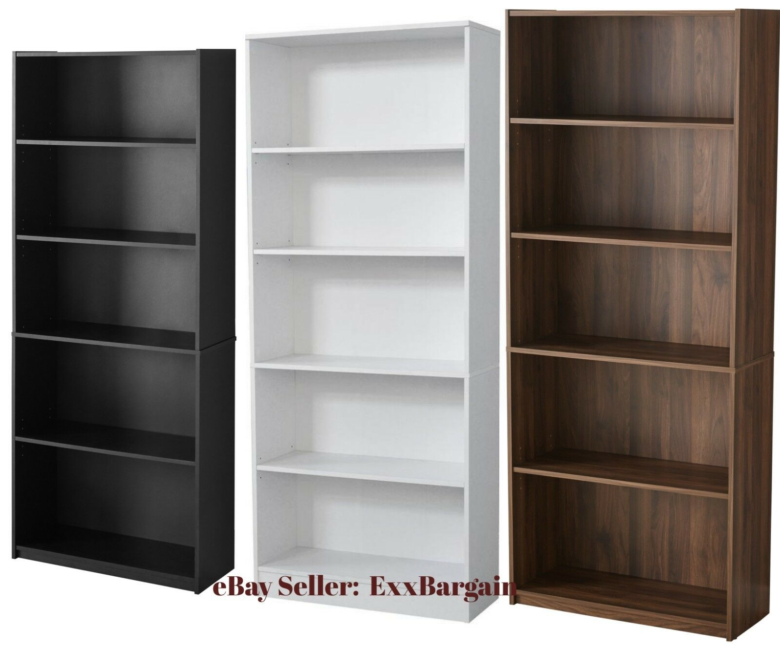 Adjustable 5-Shelf Wood Bookcase Storage Shelving Book Wide