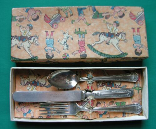 SEB TWO silverplate  national 3 Piece Youth Set