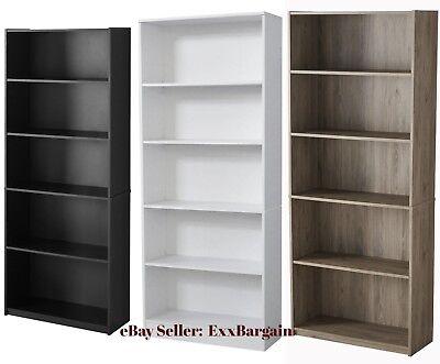 - Adjustable 5-Shelf Wood Bookcase Storage Shelving Book Wide Bookshelf Furniture