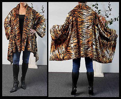 (Plus size Tiger Print Asymmetrical Velboa Warm (Velvet)Swing Jacket Coat.)