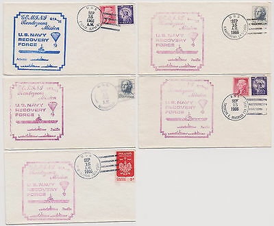 US Gemini 11 Manned Space Flight 1966 Navy Recovery Force 5 Ships 5 Covers!  |