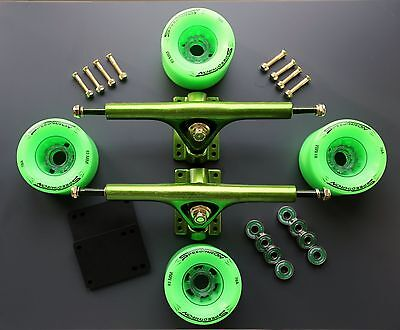 SpeedThron  Trucks Longboard 270mm  Setup Green poliert  Rollen 76mm 78A ABEC9