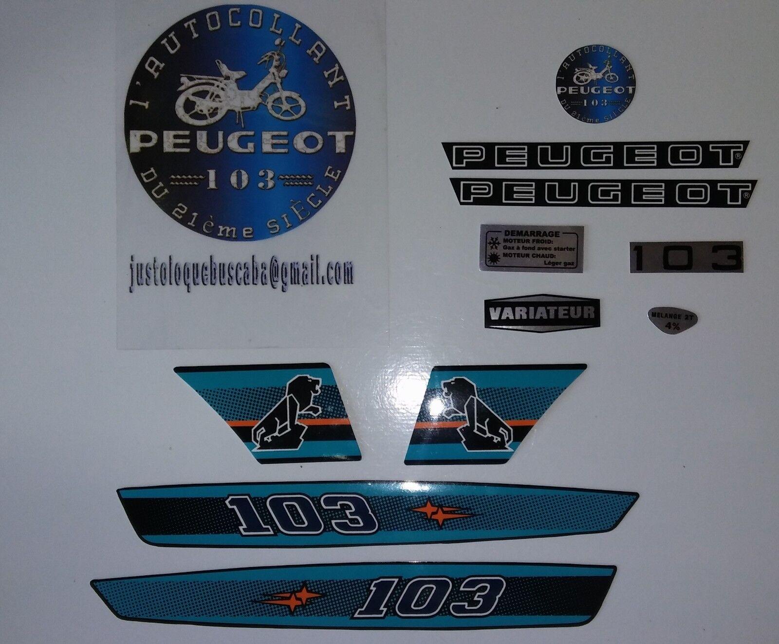 Autocollant stickers Peugeot 103MV/MVL PH1 (Bleu) .