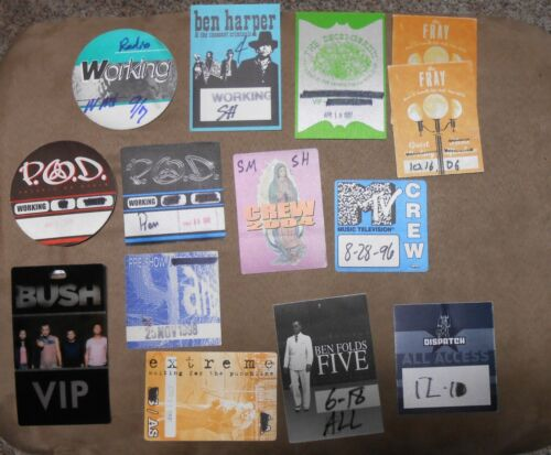 GARBAGE~BEN HARPER~P.O.D. ~ S.P. ~BUSH & MORE ~ 14 STICKY PASS  LOT ~ AUTHENTIC