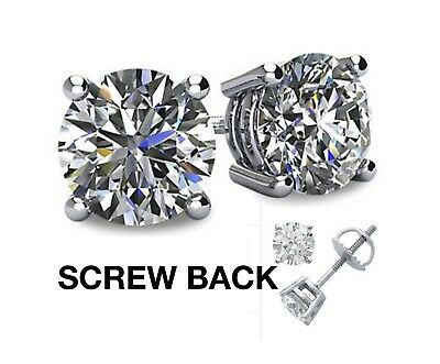 NEW 1/2 ct tw 14K White Gold AAA D-Flawless CZ Stud Earrings SPARKLING 2ct Tw Stud Earrings
