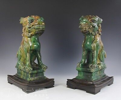 LARGE IMPRESSIVE PAIR ANTIQUE CHINESE POTTERY STATUES ROOF TILES OF SEATED DOGS