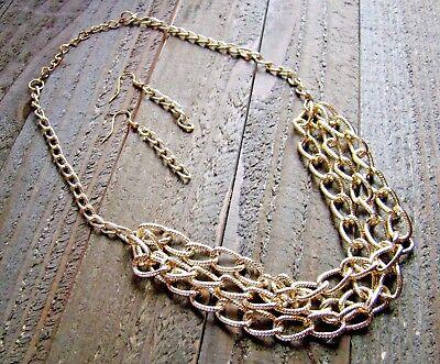Chain Gold Tone Jewelry Set (Multi Triple Chain Link Bib Necklace Earrings Fashion Jewelry Set Gold)