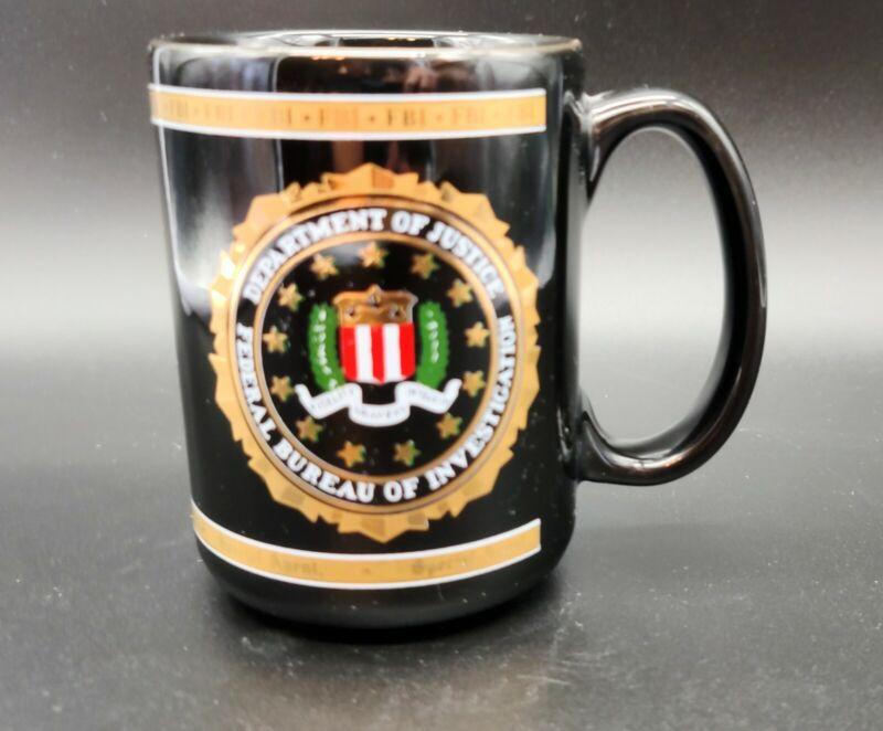 DOJ FBI porcelain coffee mug. Heraldry seal. Black with gold trim