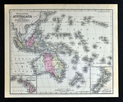 1882 Cowperthwait Map Australia Malaysia Polynesia Oceania New Zealand Hawaii