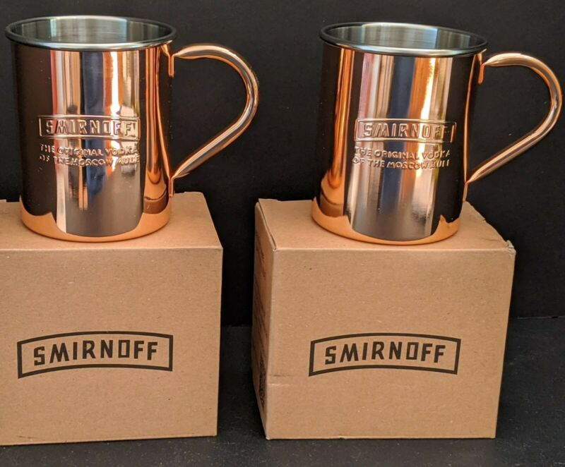 NEW Pair Copper Smirnoff Moscow Mule Bar Ware Mugs Tankards Cups New in Gift Box