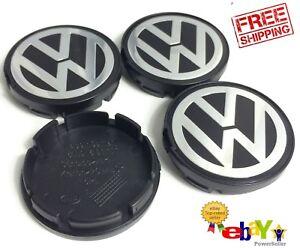 Volkswagen Center Caps 55mm Black/Chrome Fits Beetle, Jetta, Passat, Golf 4X QTY