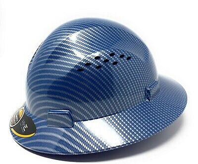 Hdpe  Hydro Dipped Bluesilver Full Brim Hard Hat With Fas-trac Suspension