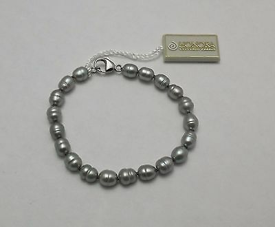 Honora Freshwater Cultured Pearl Silver Bracelet Gray Bridal Wedding (Cultured Pearl Wedding Bracelet)