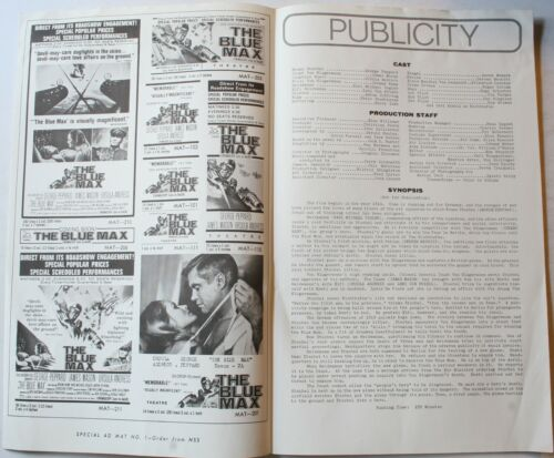 1966 The Blue Max 4-page Pressbook George Peppard 20th Century Fox