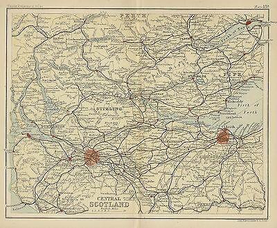Original 1896 Map Central SCOTLAND Edinbugh Glasgow Perth Greenock Loch Lomond