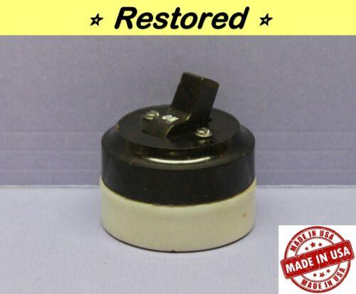 Vintage Round Toggle Light Switch, Single-Pole ON/OFF, Porcelain, Paulding, USA