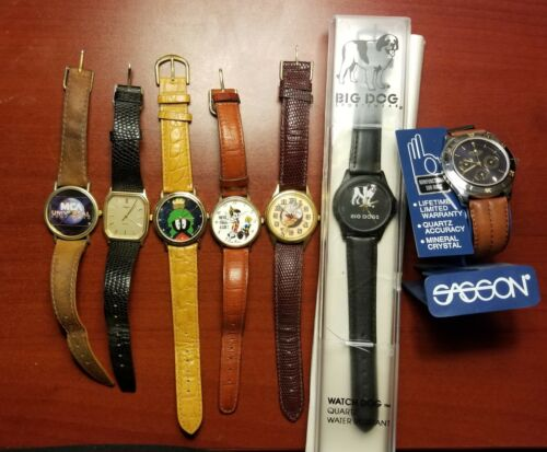 (7) WATCH COLLECTION, Disney, Universal, Coca Cola, Timex, Sasson, BIG DOGS 7pcs