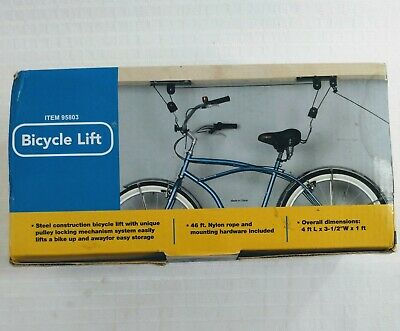 New in box Bike lift bicycle storage system pulleys rope garage Apartment 95803