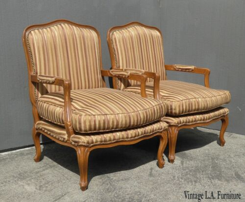 Pair of Vintage French Country Brown Striped Accent Chairs w Down Cushions