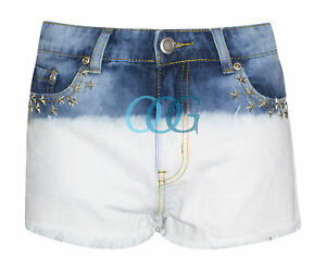 Womens-Ladies-Ombre-Dip-Dye-Acid-Wash-Star-Studded-Denim-Shorts-Hot-Pants-6-14