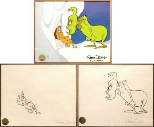 How The Grinch Stole Christmas - 2 ORIGINAL DRAWINGS AND 1 CEL - Chuck Jones