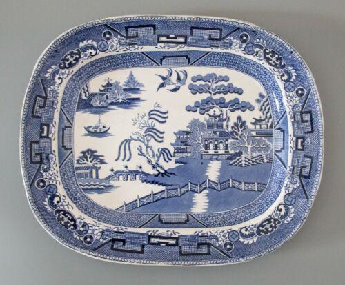 Large Antique 19th C. English Staffordshire Blue Willow Transferware Platter