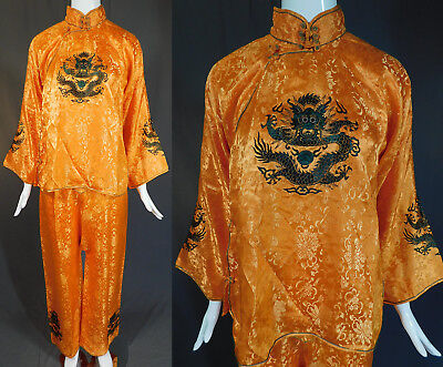 Vintage Antique Chinese Gold Silk Damask Dragon Embroidered Pajamas Pants Robe Chinese Silk Pants