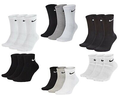 3 PACK NIKE Logo Sports Ankle Socks, Pairs Men's Women's - Black White Grey