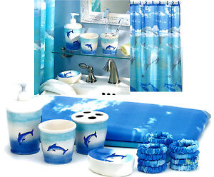 6 Pc Dolphins Bathroom Set Shower Curtain 12 Rings 4