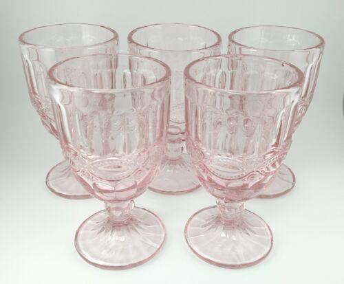 5 Light Pink Flat L.G. Wright Mosser Eyewinker Pattern Glass Water Wine Goblets