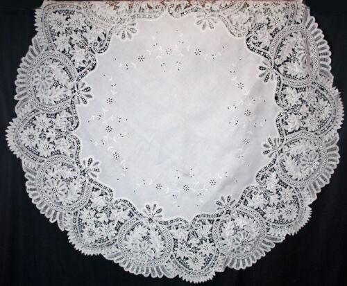 """Antique White Battenburg Lace Tablecloth 71"""" Round"""