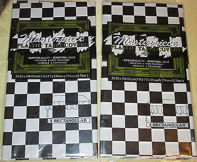 2 Black & White CHECKERED FLAG Racing Theme TABLE COVERS Tablecloth NASCAR - Checkered Table Covers