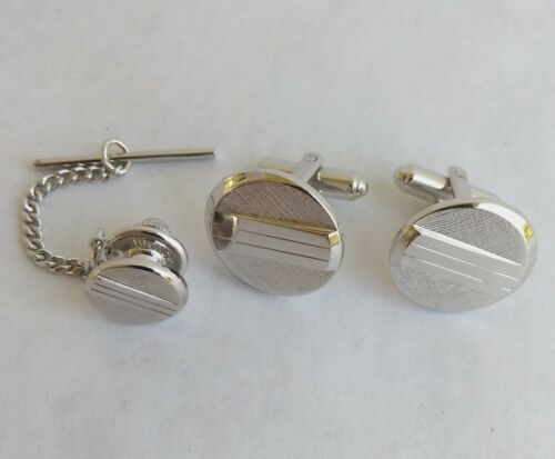 Hickok Brushed Silver Embossed Tie Tack and Cufflinks  Vintage Signed