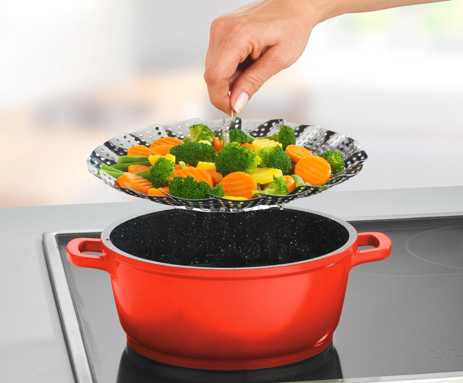 DAMPFGARER GAREINSATZ TÖPFE EDELSTAHL Dünster Dämpfen Gemüse Dünsteinsatz Kochen