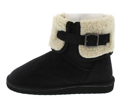 New Womens Faux Fur Shearling Cuff Fold-Over Flat Booties Ankle Boot Snow Winter