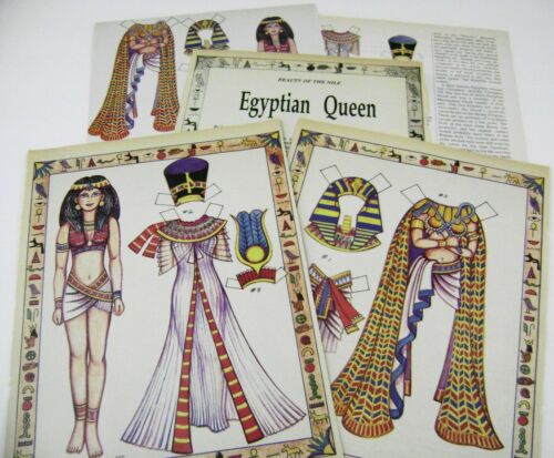 VTG PAPER DOLLS TOY 1988 EGYPTIAN QUEEN w/ARTICLE by LORAINE MORRIS RARE MAG.!!