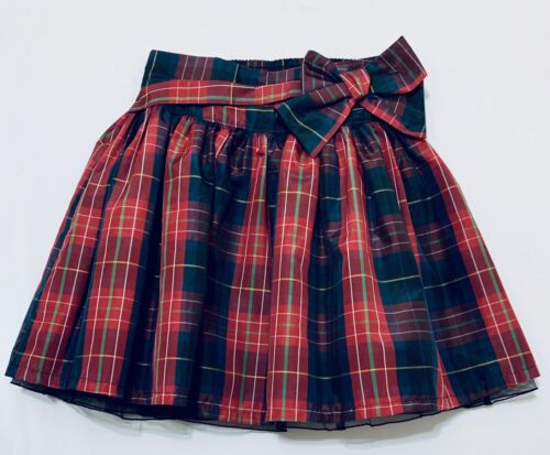 Gap Kids Red Plaid Taffeta Holiday Skirt with Peek-A-Boo Tulle Lining, S (6-7)