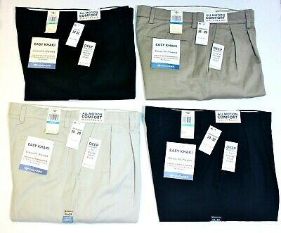 Men's Dockers Easy Khaki Pleated Comfort Waistband Classic Fit 64% Cotton Pants Classic Fit Pleated Khaki