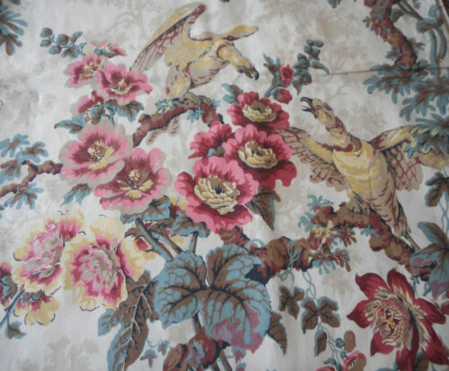 Vintage Tree of Life Floral Bird Cotton Chintz Fabric ~ Slate Blue Rose Red