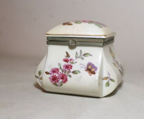 antique floral hand painted porcelain trinket dresser casket jewelry box jar