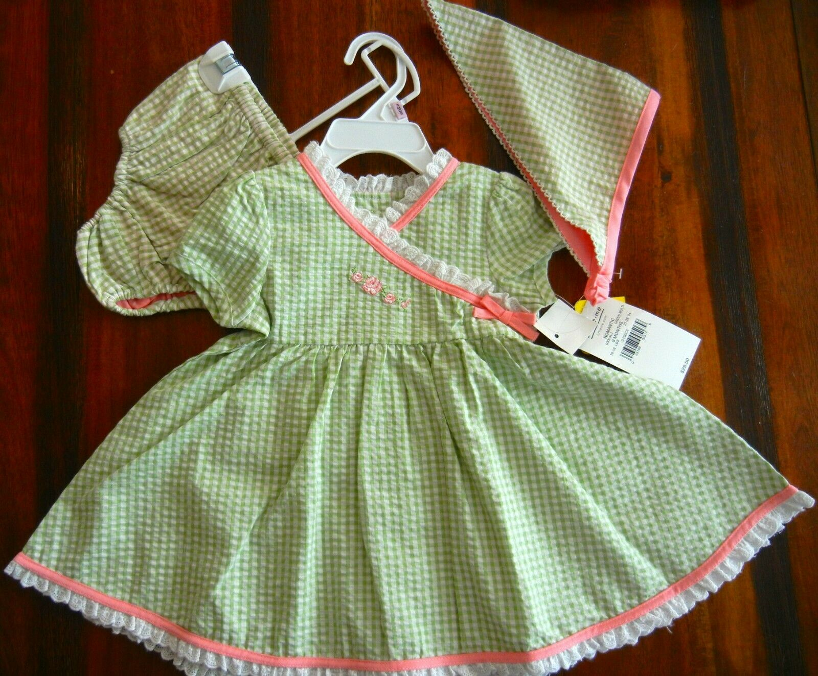 LITTLE ME BABY GIRL 3-PC DRESS SET SZ 9 MON. GREEN GINGHAM S