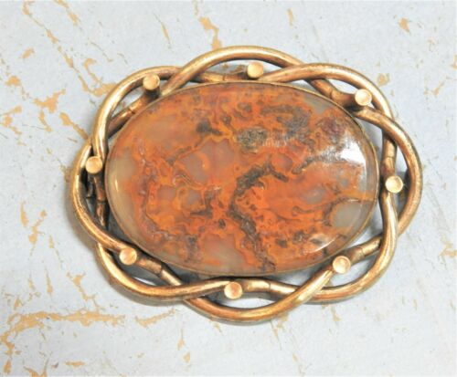 Antique Victorian Large Brooch w Agate Twisted Knot Like Design Gold Filled?